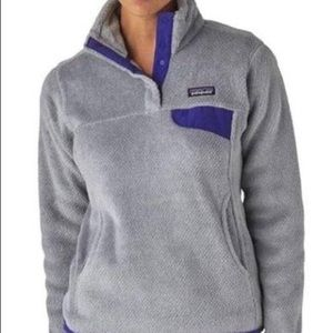 Gray and purple Patagonia pullover
